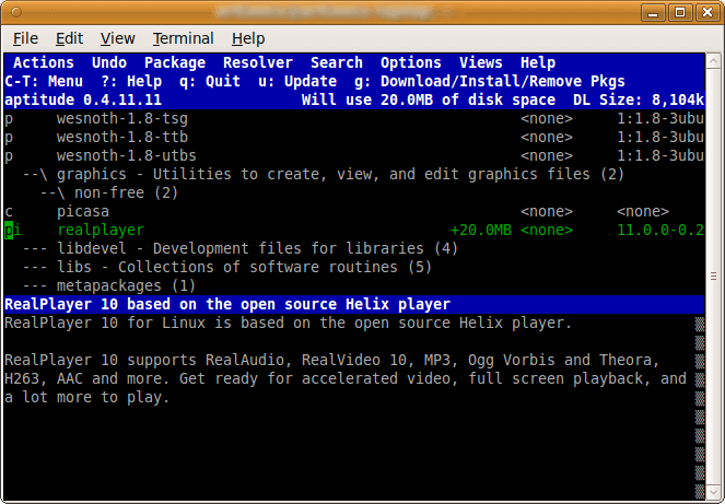 aptitute command line tool - realplayer