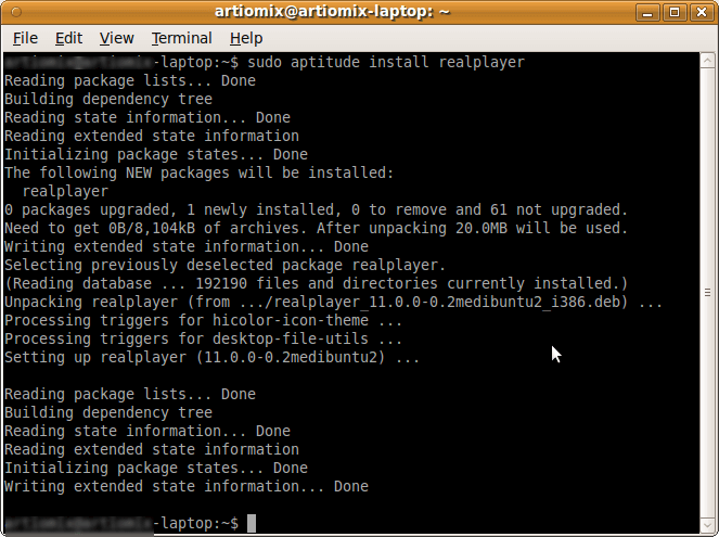 aptitute command line tool - done
